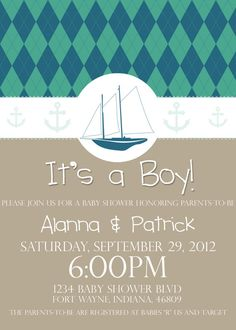 Nautical Boat Baby Shower Invitation It's a Boy by PURPLEgalore on Etsy, $14.00