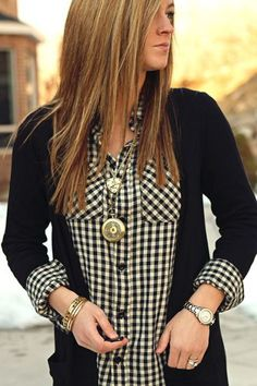 24 Big Fall Print Trends: Gingham pattern button down shirt Image Fashion, Look Fashion, Womens Fashion, Fall Winter Outfits, Autumn Winter Fashion, Looks Style, Style Me, Casual Outfits, Cute Outfits