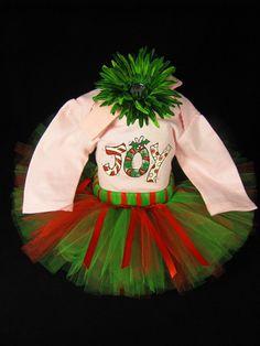 801c17057 Baby Girl 1st Christmas Outfit - Babys Christmas Joy Tutu Set - Girls Tutu  Bodysuit and Headband Set - Size 6-9 Months - CT1108