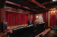 What about building a drop down ceiling to look like this so you still have access to plumbing Home Theater Room Design, Home Theater Decor, Home Theater Rooms, Home Theater Seating, Theatre Design, Cinema Room, Studio Design, Basement Movie Room, Drop Down Ceiling