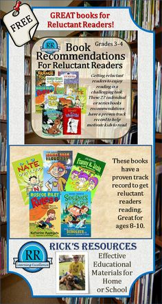 After working with third and fourth grade students for over 26 years, I met my share of reluctant readers.  This is a short list of books that I have found to be very motivating to those who don't like to read.   Each book cover graphic is linked to amazon.com for further information.