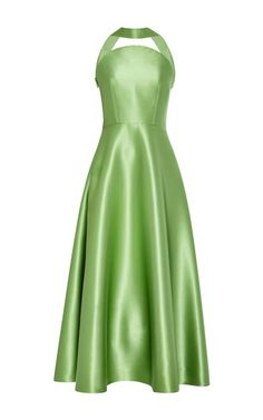 Rendered in a luxurious tumbled stretch silk satin, this tea-length **Rosie Assoulin** dress comes in a pastel apple green-color and features a seemingly strapless, curved choker neckline, fitted bodice with boning details, and a full tea-length skirt.