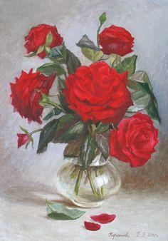ДЫХАНИЕ АКВАРЕЛИ: художница Виктория Кирьянова | Букет алых роз, 2010