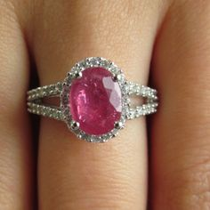 2 5/8 CTW Oval Ruby and Diamond Halo Cocktail Ring in 14K White Gold