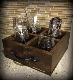 Mason Jar Caddy Condiment Caddy Utensil Caddy Picnic