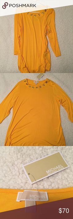 BRAND NEW Michael Kors, Sunflower Soft Top BRAND NEW  NEVER WORN  Beautiful & Professional Longsleeve Top  Super Soft  Subtle Orange Color  Size XL Michael Kors Tops Tees - Long Sleeve