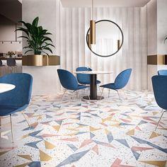 Hotel with colorful terrazzo floor design Design Café, Floor Design, Interior Design, Wall Design, Porcelain Hexagon Tile, Hexagon Tiles, Terrazo Flooring, Background Tile, Terrazzo Tile