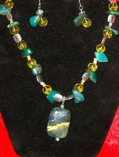Green  Golden Jasper Pendant with Silver Accents  Matching Earrings
