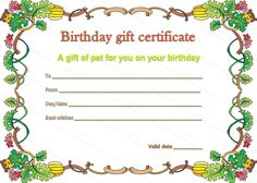 Pet Gift Certificate Template for Birthday