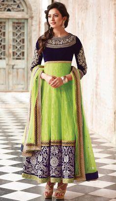 USD 141.64 Rakul Preet Singh Green Net Ankle Length Anarkali Suit 48555