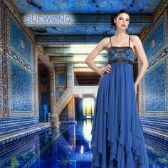 Sue Wong sleeveless spaghetti strap gown with beaded bodice flowing panel skirt… #teamsuewong #suewong #fashion #hautecouture #couture #picoftheday #glamorous #colorful