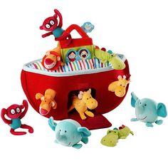 Bolso barco de tela El arca de Noe con animales Lilliputiens