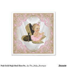 Pink Gold High Heel Shoe Pearl Girl Baby Shower Standard Cocktail Napkin