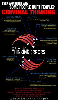 Criminal thinking errors- more from a psychological perspective than a straight criminology perspective. Very interesting, especially the strategies that are formed to alter these ways of thinking Writing Advice, Writing Resources, Writing Help, Writing Prompts, Forensic Psychology, Forensic Science, Psychology Facts, Personality Psychology, Evolutionary Psychology