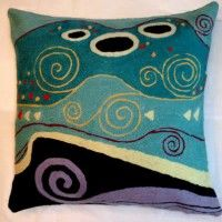 Contemporary Throw Pillows – Klimt Marine Pillow