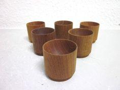 6 Danish modernist TEAK egg cups era Quistgaard Wegner - 50s 60s mid-century