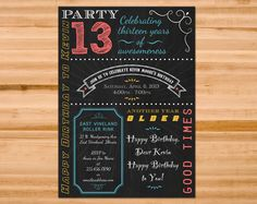 Printable Customized Chalkboard Birthday Party Invitation - Perfect for Teens and Tweens! From www.sweetjaniedesigns.com $8.00 In Stock