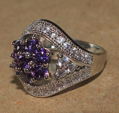 Amethyst Cz ring gemstone silver jewelry Sz 6.75 modern cocktail engagement B7D #Cocktail