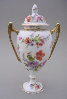 Dresden Porcelain Twin Handled Vase and Cover | eBay