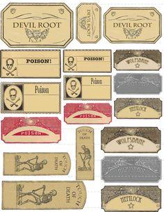 Digital Download Collage Sheet Vintage Style Poison Halloween Potion Bottle Labels Mixed Sheet 1 DIY Props Decorations (120)