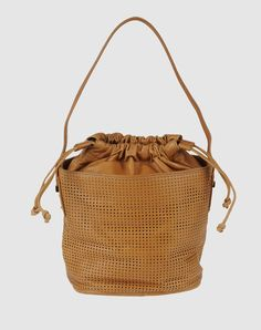 Perforated leather bucket bag in tan. By Ferre.