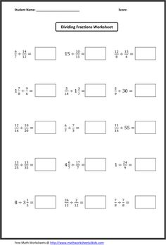 Dividing Fractions Worksheets                                                                                                                                                                                 More