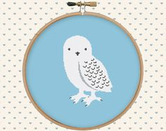 Polar owl cross stitch pattern pdf  instant by GentleFeather