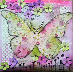 Mixed Media Canvas Butterfly Start to Finish Tutorial with Gelatos