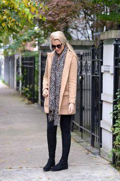 Leopard, black + camel coat.