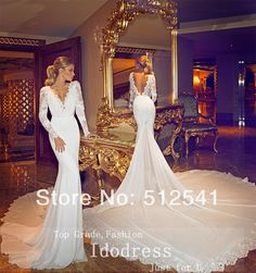 Backless V Neck Trumpet Mermaid Chaple Train 2014 Wedding Dresses Long Sleeve Appluqe Chiffon Bridal Gown yk8R871 £124.51