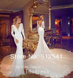 Backless V Neck Trumpet Mermaid Chaple Train 2014 Wedding Dresses Long Sleeve Appluqe Chiffon Bridal Gown yk8R871 £124.51