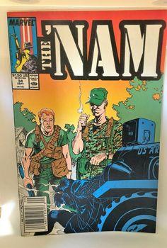 THE NAM Marvel Comic VOl 1 NO 34 SEPT 1989 Original Slipcover Very Good No Flaws War Comics, Marvel Comics, Slipcovers, Flaws, Comic Books, Rock, The Originals, Artwork, Ebay