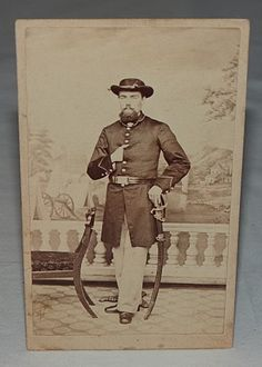 Civil War Era Standing Soldier in Uniform w Sword Hat Coat Buckle CDV