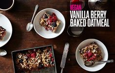 Vegan Vanilla Berry Baked Oatmeal - Turn on Your Oven for 35 Minutes, Have Breakfast for the Whole Week on Baked Oatmeal Recipes, Baked Oats, Brunch Recipes, Breakfast Recipes, Eat Breakfast, Breakfast Bites, Food 52, Cooking Recipes, Food52 Recipes