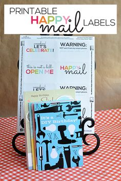 Adorable happy mail printable labels!  Easy to download and attach to letters and cards.  Too cute!