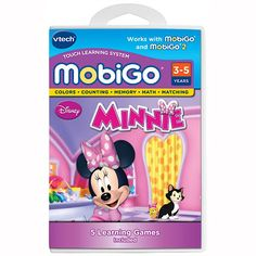 VTECH MobiGo Game - Minnie Mouse Join Minnie Mouse and her friends on a fun learning adventure with this VTech MobiGo Game. Minnie, Daisy and Figaro are throwing a party. As you help them get ready for the celebration, you can: Read  http://www.comparestoreprices.co.uk/educational-toys/vtech-mobigo-game--minnie-mouse.asp