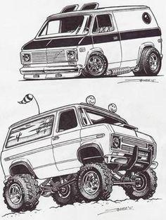 Car Drawing Pencil, Cartoon Car Drawing, Cars Coloring Pages, Coloring Books, Custom Van Interior, Cool Car Drawings, Rock Poster, Old School Vans, Graffiti Characters