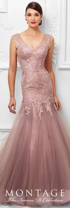 Formal Evening Gowns by Mon Cheri - Spring 2017 - Style No. 117D65 - pink topaz tulle and lace evening dress with illusion slight cap sleeves