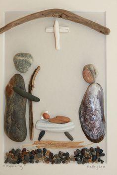 Driftwood Nativity | The Nativity Scene made with shells, beachwood and seaglass