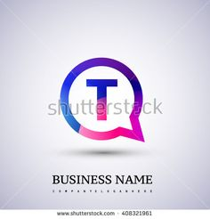 T letter colorful logo on circle. Vector design template elements for your application or company logo identity. - stock vector