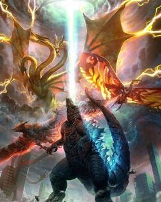 Godzilla King of the Monster Alien Creatures, Fantasy Creatures, Mythical Creatures, Godzilla Wallpaper, Tiamat Dragon, Godzilla Franchise, Rukia Bleach, All Godzilla Monsters, Monster Art