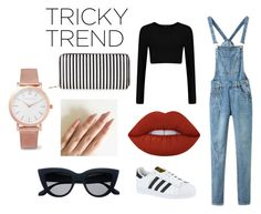 """""""Tricky Trend"""" by annawinks ❤ liked on Polyvore featuring Lime Crime, adidas, Larsson & Jennings, New Look, TrickyTrend and overalls"""