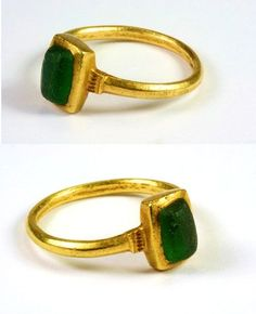Medieval Gold Ring with Glass Imitating Emerald, 12th or 13th Century from metierparis on Ruby Lane