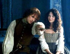 "Jamie Fraser (Sam Heughan) and Claire (Caitriona Balfe) in ""Lallybroch"" of Outlander on Starz"