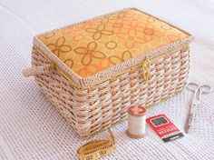 Vintage 1950s/1960s sewing basket with yellow by freshdarling