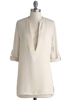 One Cannoli Hope Tunic - Chiffon, Sheer, Woven, Long, Cream, Solid, Casual, Good, V Neck, Tab Sleeve, Work, 3/4 Sleeve