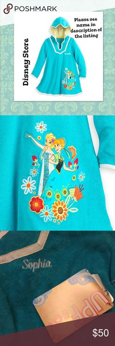 """Disney, Anna & Elsa from Frozen Cover-up """"Sophia"""" Trips to beach/pool/bathtub will be more fun in the company of Anna and Elsa who are together on the front of this Frozen cover-up for girls. The soft terry will help dry her off while providing UVA and UPF 50+ protects against harmful rays.   This is personalized the name """"Sophia"""" on the chest.  Size: Girls 7/8 - Anna and Elsa appliqué - Embroidered flower detailing - Lined hood with contrast floral print - Soft terry blend  Body: 80% cotton…"""