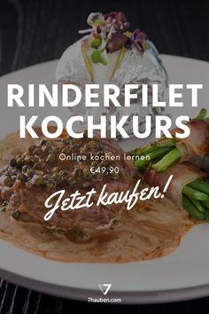 """Rinderfilet mit Pfefferrahmsauce aus unserem Online-Kochkurs """"Rinderfilet total"""". Im Video zeigt Haubenkoch Georg Essig, wie du das Rinderfilet richtig zerlegst und welche verschiedenen Zubereitungsarten es gibt. Da wird nicht nur ein Steak perfekt!"""