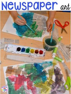 Earth Day art (newspaper cutting and painting collage). Plus FREE Earth Day vocabulary posters! Perfect for preschool, pre-k, or kindergarten.
