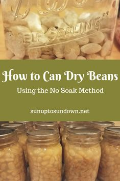 Learn how to can your own dry beans using the no soak method. You can inexpensively and easily can your own beans for next to nothing! Pressure Canning Recipes, Home Canning Recipes, Canning Tips, Easy Canning, Cooking Recipes, Pressure Cooking, Canning Food Preservation, Preserving Food, Canning Beans